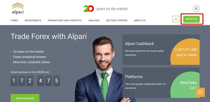"""手順①:Alpariの公式サイトから""""REGISTER""""をクリック"""