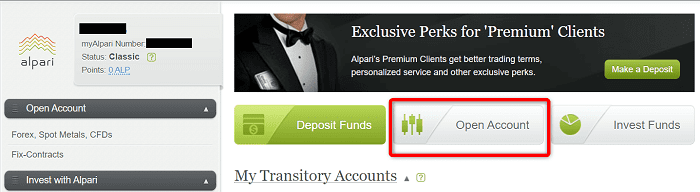 """手順④:""""myAlpari""""にログインしたら""""Open Account""""をクリック"""