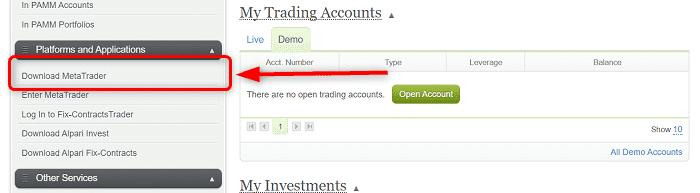 """手順①:Alpari公式サイトにログインして""""Download Meta Trader""""をクリック"""