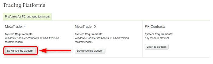 """手順②:""""Metatrader4""""の""""Download the platform""""をクリック"""