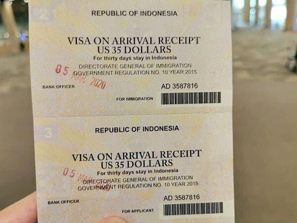 米ドルの場合35ドル、インドネシアルピアの場合550,000ルピア(4,036円) です。