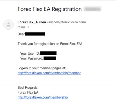 [Forex Flex EAの購入と返金]手順④: 購入完了(確認メールが届きます)