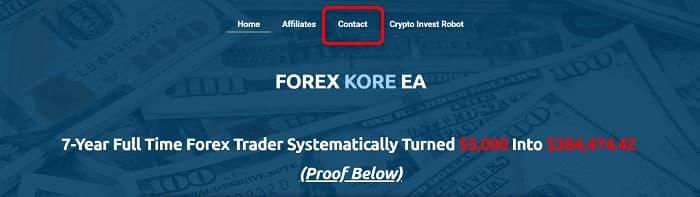 [Forex Kore EAの購入と返金]手順①:Forex Kore EA公式サイトのお問い合わせを開く
