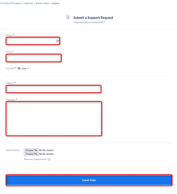 [Forex Kore EAの購入と返金]手順③:入力フォームに必要事項を入力して登録する