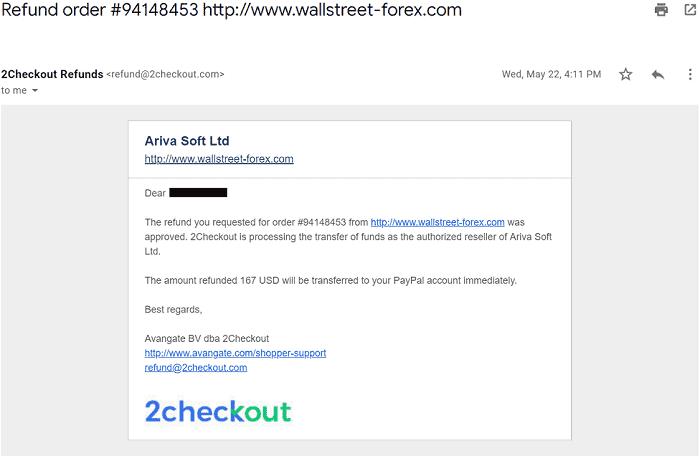 [WallStreet Forex Robot 2.0 Evolutionの購入と返金方法]手順⑤:返金手続き完了メールが届いたら終了