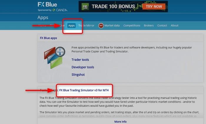 1:FX Blue公式サイトから「App」→「FX Blue Trading Simulator v3 for MT4」をクリック
