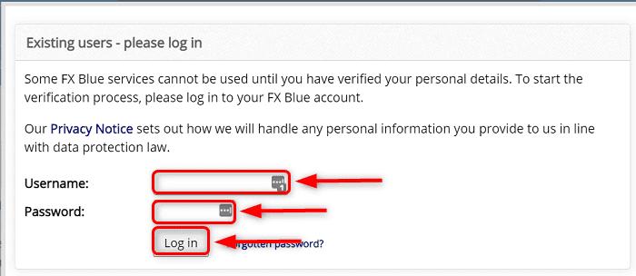 3:FX Blueのアカウントを持っている場合は「Username」と「Password」を入力して「Log in」をクリック