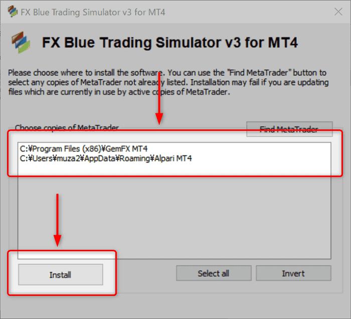 4:FX Blue Trading Simulator をインストールしたいMT4を選択して「Install」をクリッ