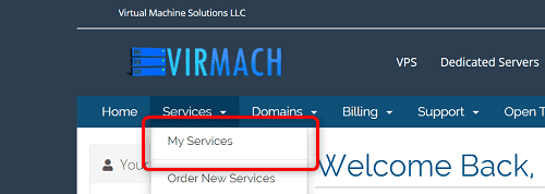 "[VirMachの使い方]手順①:VirMachクライアントエリアから""Services""の""My Servicess""をクリック"