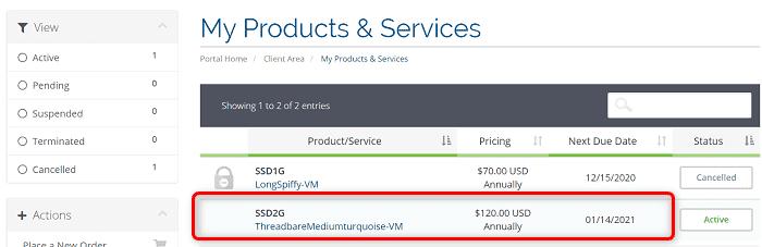 """[VirMachの使い方]手順②:""""My Products & Services""""の中から解約したいプランをクリック"""