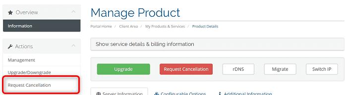 """[VirMachの使い方]手順③:""""Mnage Product""""にある""""Request Cancellation""""からキャンセルをリクエストします"""