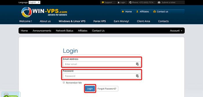"""[WIN-VPS.comの使い方]手順①:""""Email Address""""と""""Password""""を入力して、クライアントエリアにログイン"""