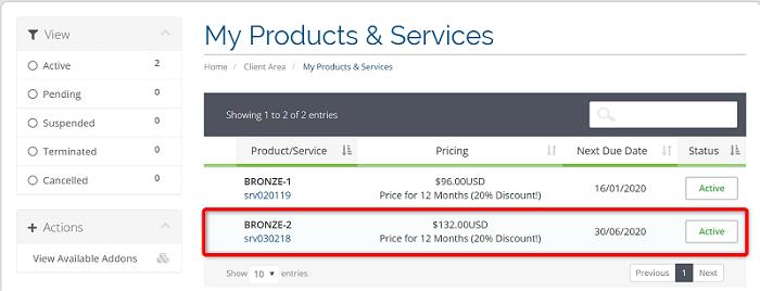"""[WIN-VPS.comの使い方]手順③:""""My Products & Services""""から申し込んだプランをクリック"""