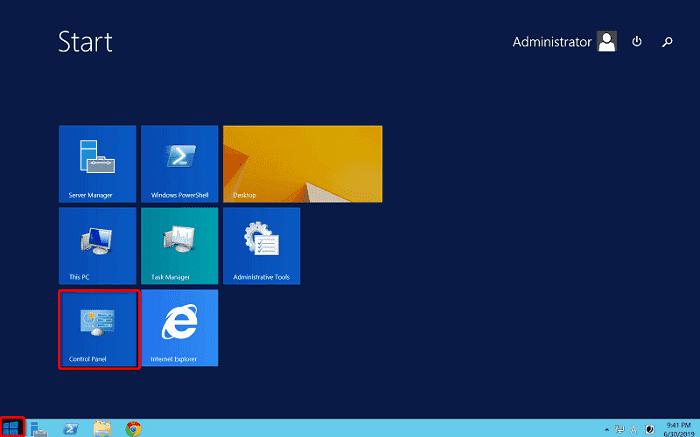 """[WIN-VPS.comの使い方]手順①:""""Windows""""ボタンをクリックして""""Control Panel""""をクリック"""