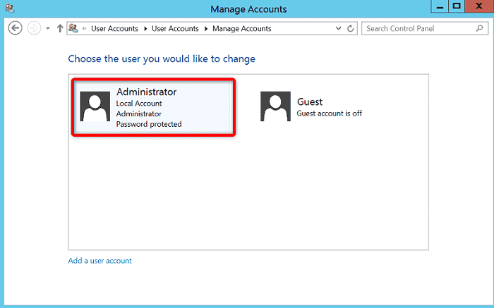 "[WIN-VPS.comの使い方]手順③:""Choose the user you would like to change""から""Administrator""をクリック"