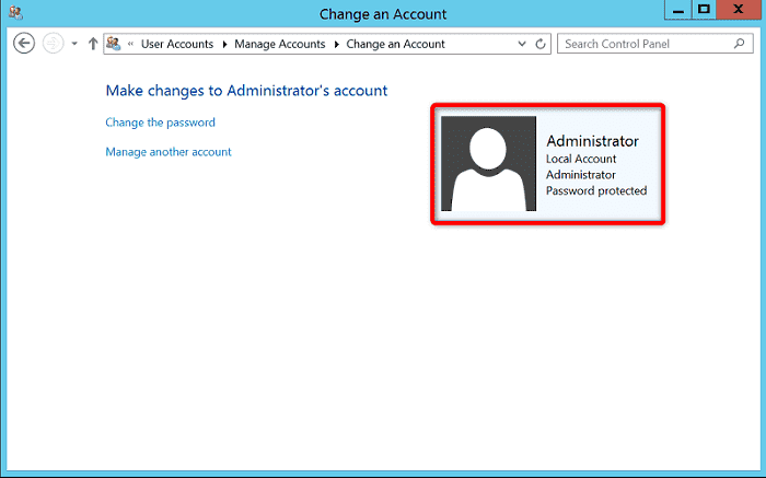 "[WIN-VPS.comの使い方]手順④:""Make changes to Administrator's account""から""Administrator""をクリック"