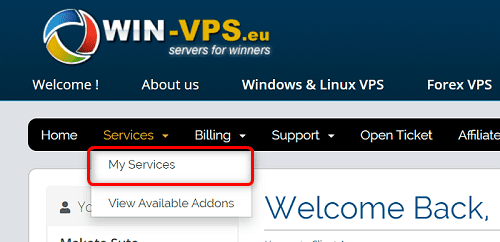 """[WIN-VPS.comの使い方]手順①:WIN-VPS.comクライアントエリアから""""Services""""の""""My Servicess""""をクリック"""