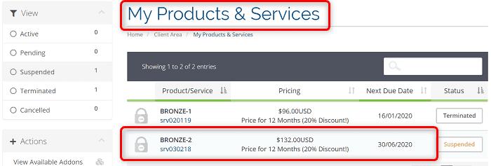 """[WIN-VPS.comの使い方]手順②:""""My Products & Services""""の中から解約したいプランをクリック"""