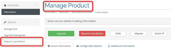 """[WIN-VPS.comの使い方]手順③:""""Mnage Product""""にある""""Request Cancellation""""からキャンセルをリクエストします"""