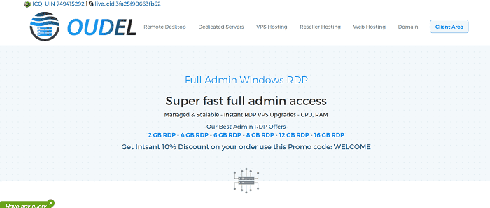 (3) OUDEL | Cheap Full Admin RDP Server Plans - KVM, SSD, Managed Easily remote desktop to your work station 24/7