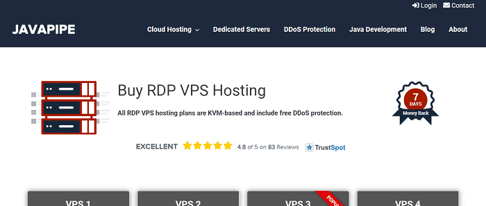 (3) JAVAPIPE | Buy RDP VPS Hosting Cheap w/ Bitcoin [FREE DDoS Protection