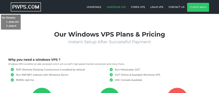 (4) PIVPS | Cheap Windows VPS Server Hosting Services