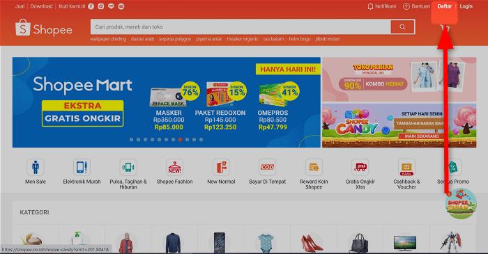 ①:Shopeeトップページから「Daftar」をクリック