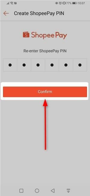 ⑧:パスワードを設定したら「Confirm」をタップ
