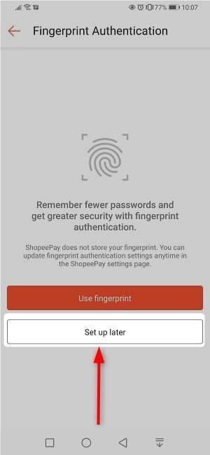 ⑨:指紋認証の設定画面、設定しないので「Set up later」をタップ
