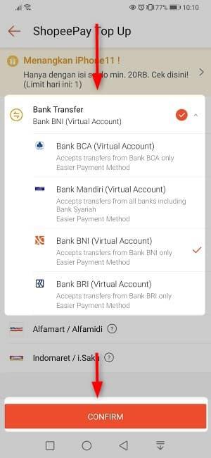 ⑫:今回はBNI銀行を選択して「CONFIRM」をタップ