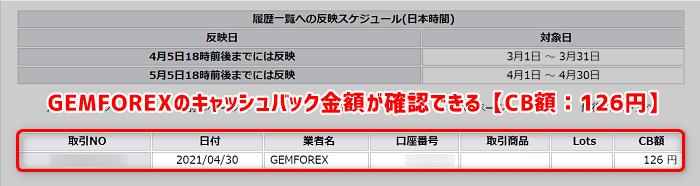 手順④:GEMFOREXで取引をするとキャッシュバック発生